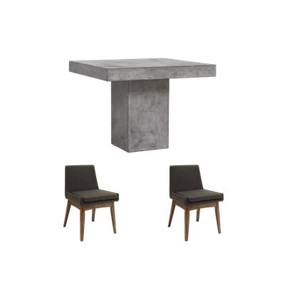 Ryland Square Dining Table 1m with 2 Fabian Dining Chairs - Image 1