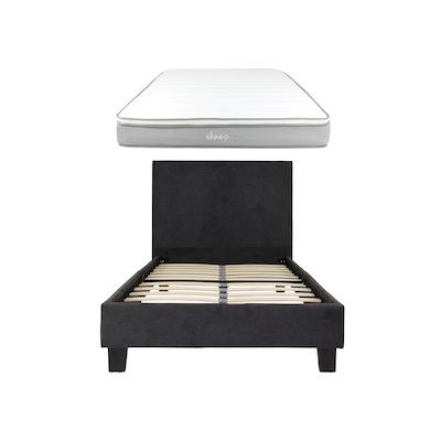 Bradley Single Headboard Bed w/ SLEEP Mattress - Dark Grey - Image 1