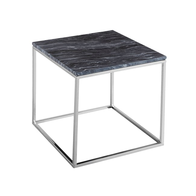 Amelia Marble Side Table - Grey, Chrome - 2