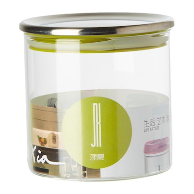 600ml Glass Jar With Stainless Steel Cover - Green