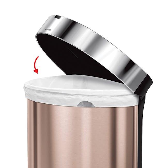 simplehuman Semi-Round Sensor Bin 45L - Rose Gold - 5