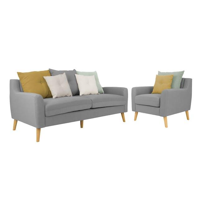 Evan 3 Seater Sofa with Evan Armchair - Slate - 0