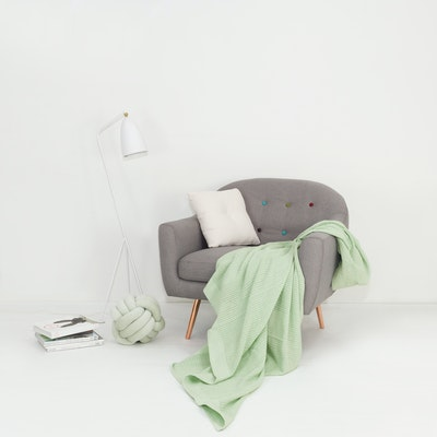 Leno Weave Cotton Throw - Sea Foam Green - Image 2