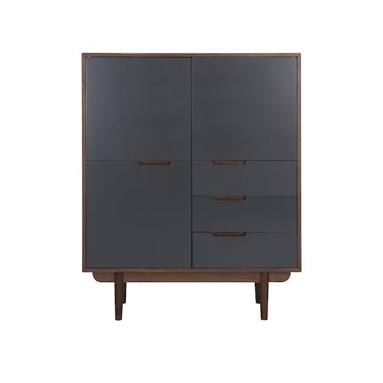 Laholm - Larisa Tall Sideboard 1.1m - Walnut, Grey
