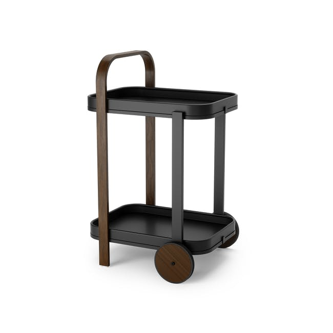 Bellwood Serving Cart - Black, Walnut - 0