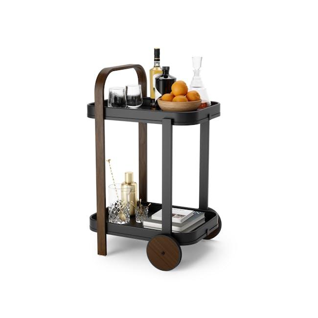 Bellwood Serving Cart - Black, Walnut - 1