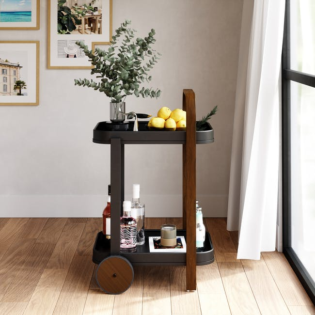 Bellwood Serving Cart - Black, Walnut - 10