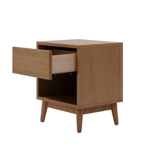 Audrey Queen Storage Bed in Seal Grey with 2 Kyoto Top Drawer Bedside Tables in Walnut - 8