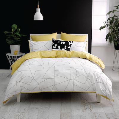(King) Fraction Yellow 4-Pc Bedding Set - Image 1