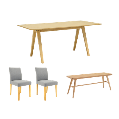 Varden Dining Table 1.7m with Marrim Bench and 2 Ladee Dining Chairs - Image 1