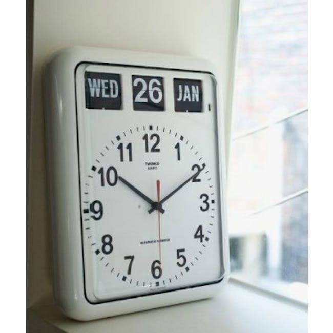 TWEMCO Analog Calendar Flip Wall Clock - White - 4