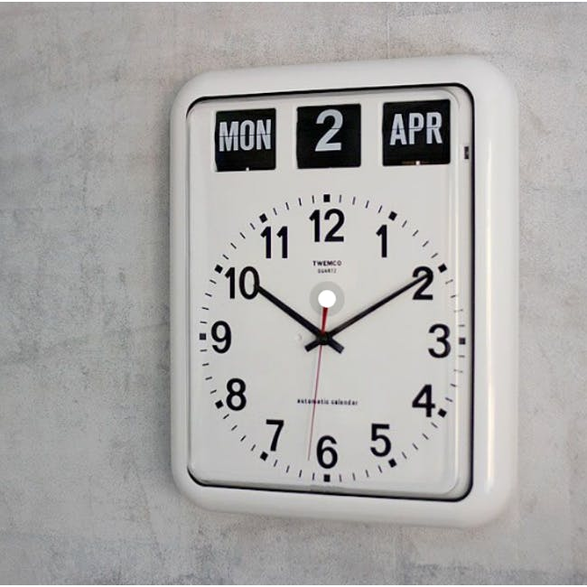 TWEMCO Analog Calendar Flip Wall Clock - White - 5