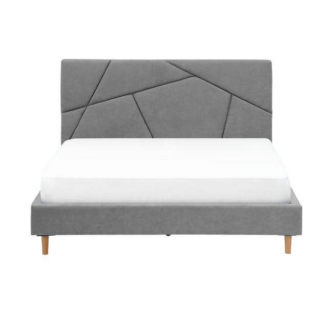 Kieran King Bed in Gray Owl with 2 Odin Bedside Tables in Natural - 1