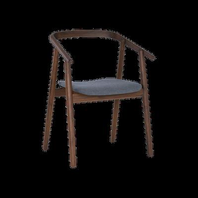 Glen Dining Chair - Dim Grey, Walnut - Image 1