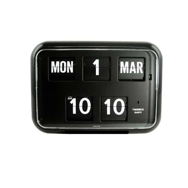 TWEMCO Big Calendar Flip Wall Clock - Black - 0