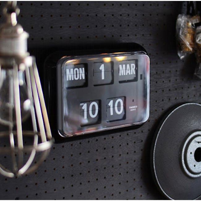 TWEMCO Big Calendar Flip Wall Clock - Black - 2