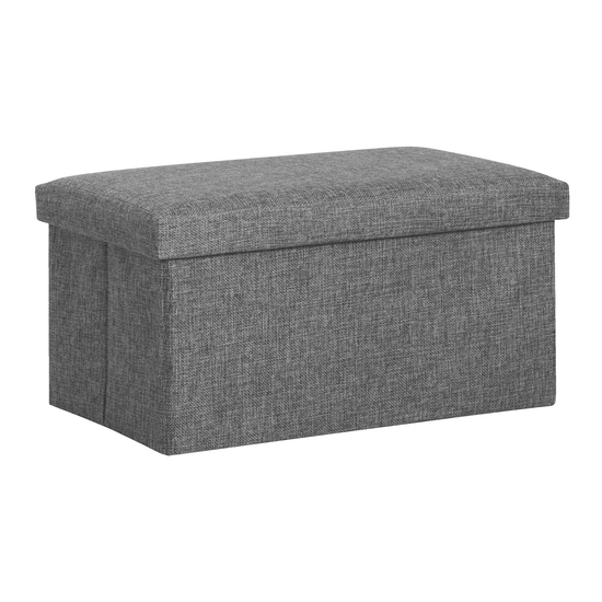 Domo Foldable Storage Bench Ottoman Grey Home Basics By