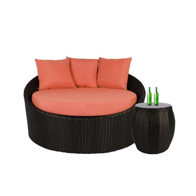 Round Sofa with Coffee Table Set - Orange Cushion - 0