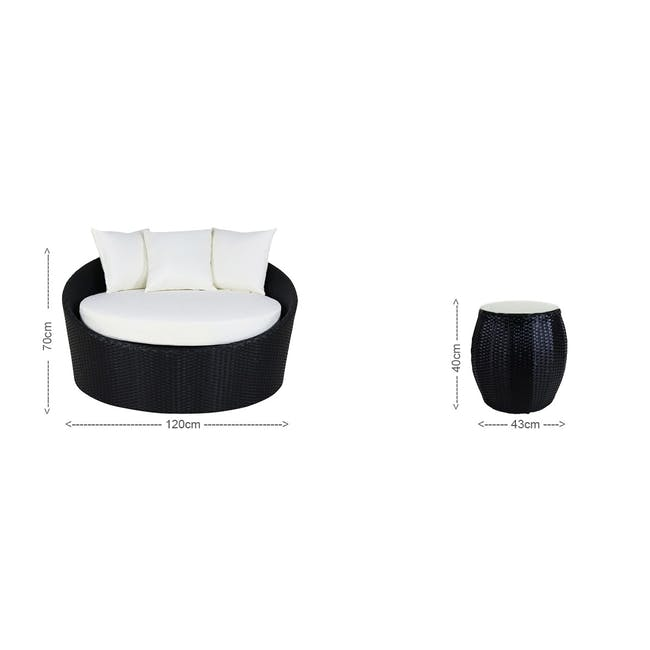 Round Sofa with Coffee Table Set - Orange Cushion - 4