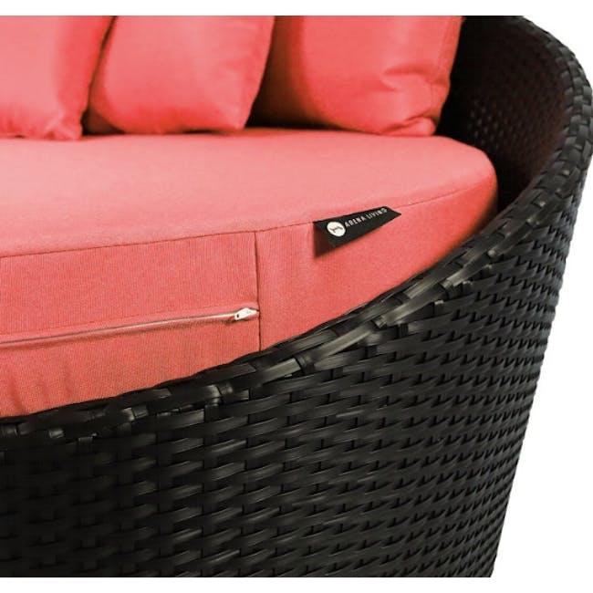 Round Sofa with Coffee Table Set - Orange Cushion - 3