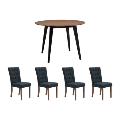 Ralph Round Dining Table with 4 Henry Dining Chairs - Cocoa - Image 1