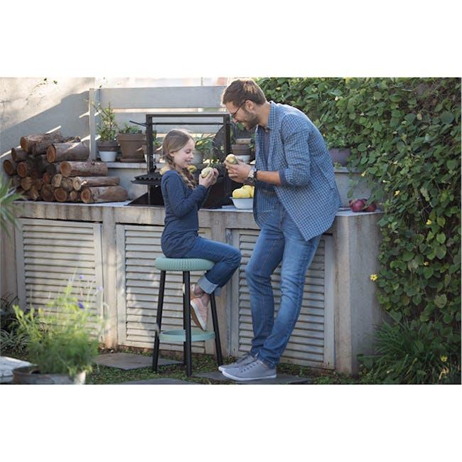 Knit Cozy Outdoor Bar Stool - Elegant Grey - 1