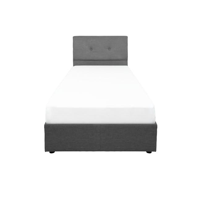 ESSENTIALS Single Headboard Box Bed - Smoke (Fabric) - 0