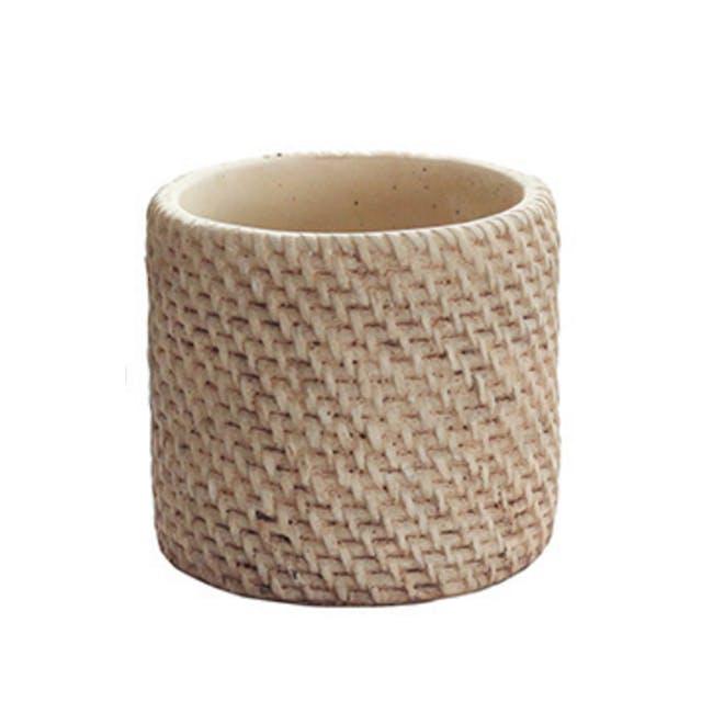 Rattan Cement Pot - Close Cane - 0
