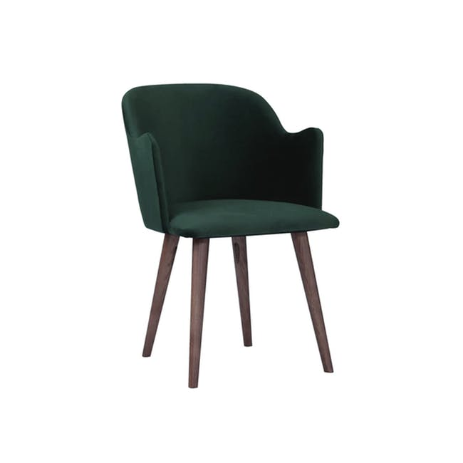 Anneli Dining Armchair - Walnut, Dark Green (Velvet) - 3