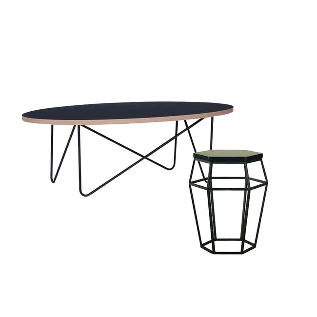 Seifer Coffee Table with Apollo Stool/Occasional Table in Black - 0