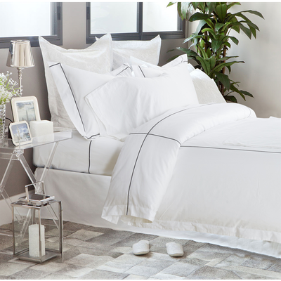 (King) Hotelier Prestigio™ 6-pc Bedding Set - Black Check Embroidery - Image 1