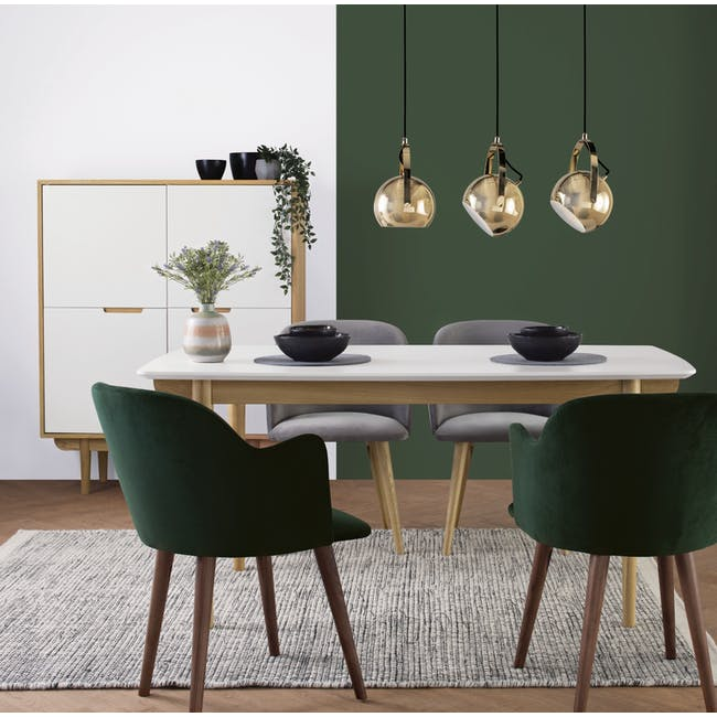 Larisa Dining Table 1.6m with 4 Anneli Dining Armchairs in Grey and Dark Green Velvet - 1