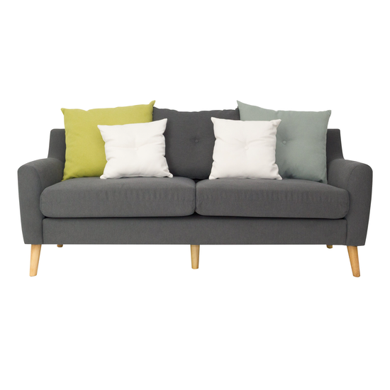 Evan 3 Seater Sofa with Cushions - Granite, Apartment Sofas by ...