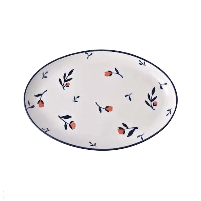 Table Matters Rose Sweet Hand Painted Oval Shaped Plate - 0