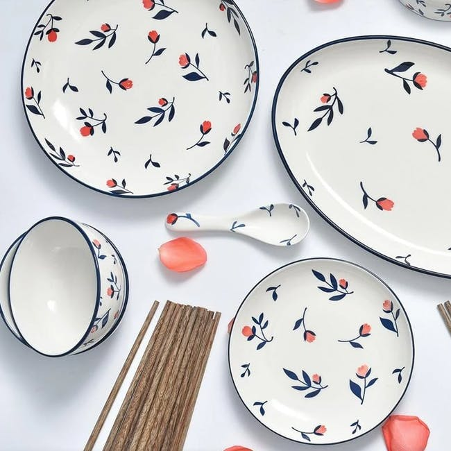 Table Matters Rose Sweet Hand Painted Oval Shaped Plate - 2