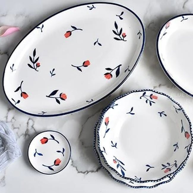 Table Matters Rose Sweet Hand Painted Oval Shaped Plate - 3