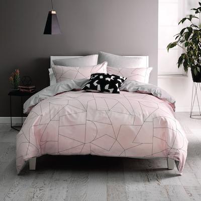 (King) Fraction Pink 4-Pc Bedding Set - Image 1