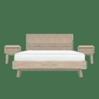 Leland King Bed with 2 Leland Single Drawer Bedside Tables - Image 1