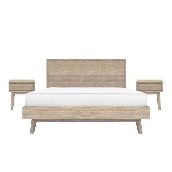 HipVan Bundles - Leland King Bed with 2 Leland Single Drawer Bedside Tables