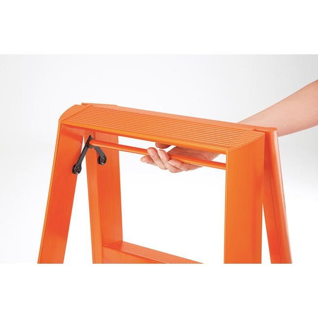 Hasegawa Lucano Aluminium 2 Step Stool - Orange - 3