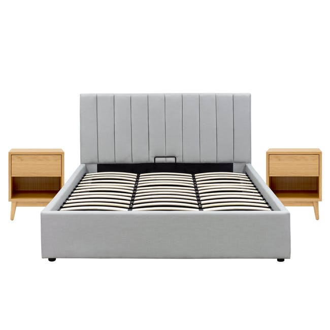 Audrey King Storage Bed in Silver Fox with 2 Kyoto Top Drawer Bedside Tables in Oak - 0