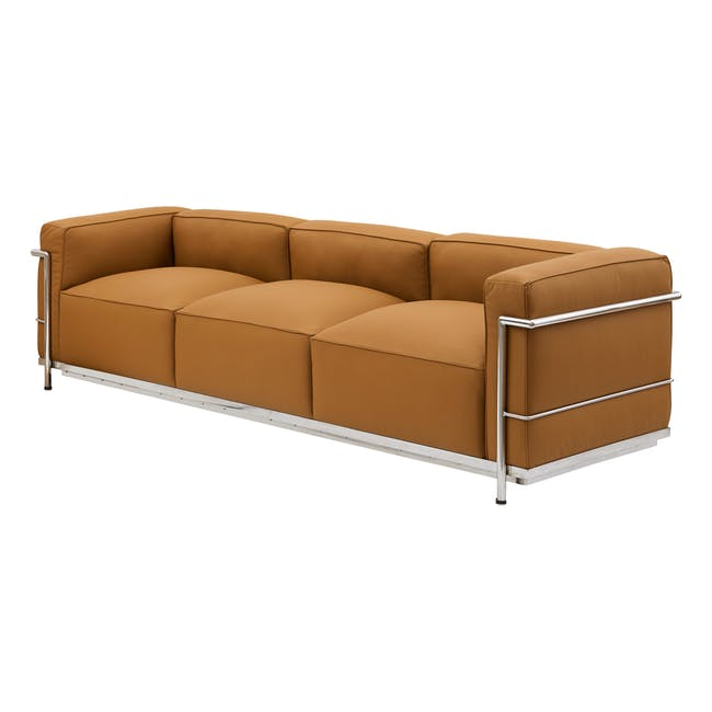 LC3 3 Seater Sofa Replica - Tan (Geuine Cowhide) - 1