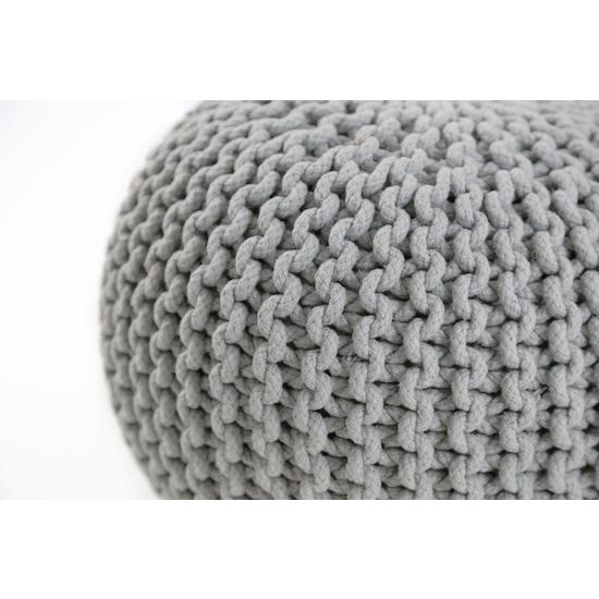 Singla Textiles - Maui Knitted Pouffe - Light Grey