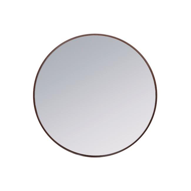 Hana Round Mirror 70 cm - Walnut - 0