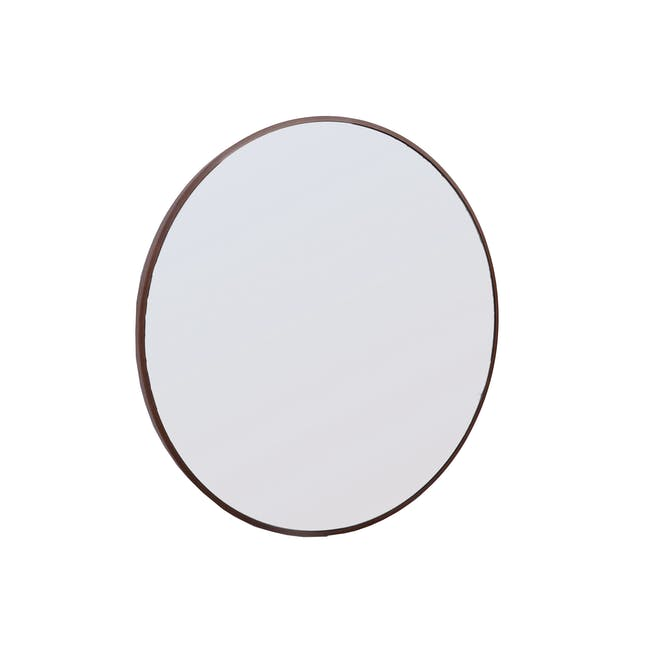 Hana Round Mirror 70 cm - Walnut - 1