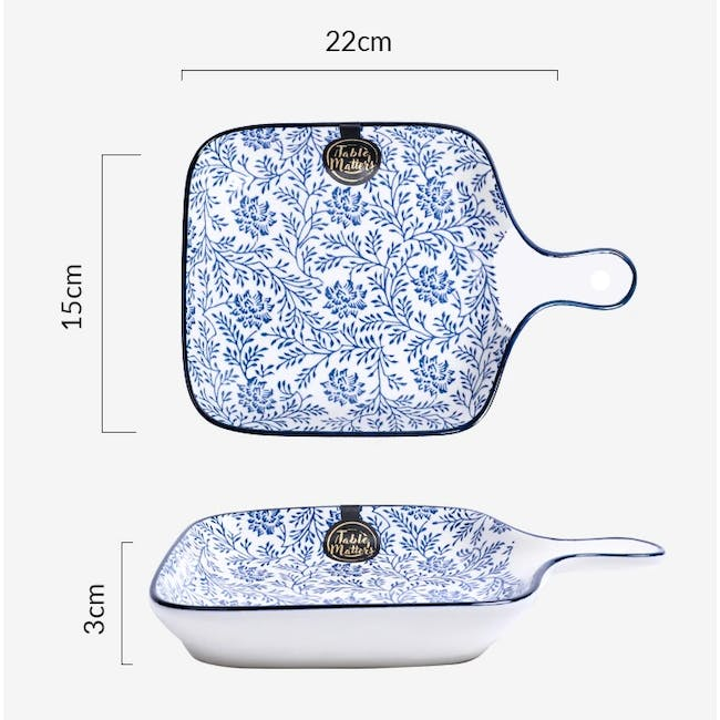 Table Matters Floral Blue  Square Plate With Handle - 2