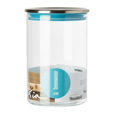 1L Glass Jar With Stainless Steel Cover -Blue