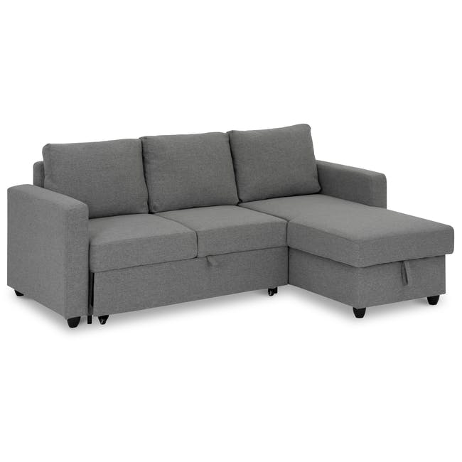 Mia L-Shaped Storage Sofa Bed - Dove Grey - 2