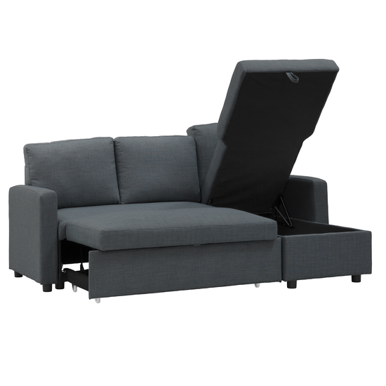 Mia L Shape Sofa Bed With Storage Granite