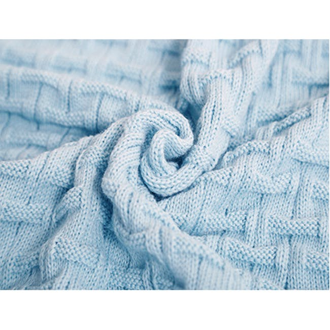 Camille Knitted Throw Blanket 110 x 175 cm - Sky Blue - 3